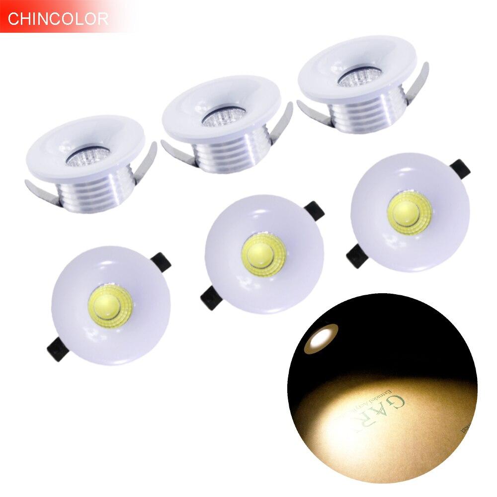 6pcs 3W High power COB Led spotlight Mini spot Light Led light Polished ceiling lamp cabinet closet lamps Warm White new HL