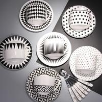 Black and white geometric bone china coffee cup set with simple creative European Cup spoon tea cups