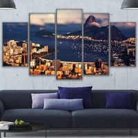 Canvas Home Decor Wall Art Pictures Framework 5 Pieces Rio De Janeiro Mountain View Of The