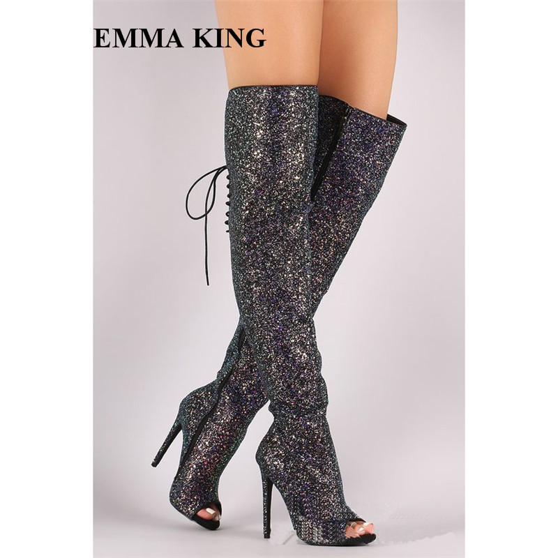 New Botas Mujer Sequined Thigh High Boots Back Lace Up Design Bling Bling Luxury Shoes Sexy Open Toe Stage Sandals Boots WomenNew Botas Mujer Sequined Thigh High Boots Back Lace Up Design Bling Bling Luxury Shoes Sexy Open Toe Stage Sandals Boots Women