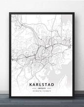Плакат с картой Швеции рисунок кристианстад Лунда мальмо норрицин