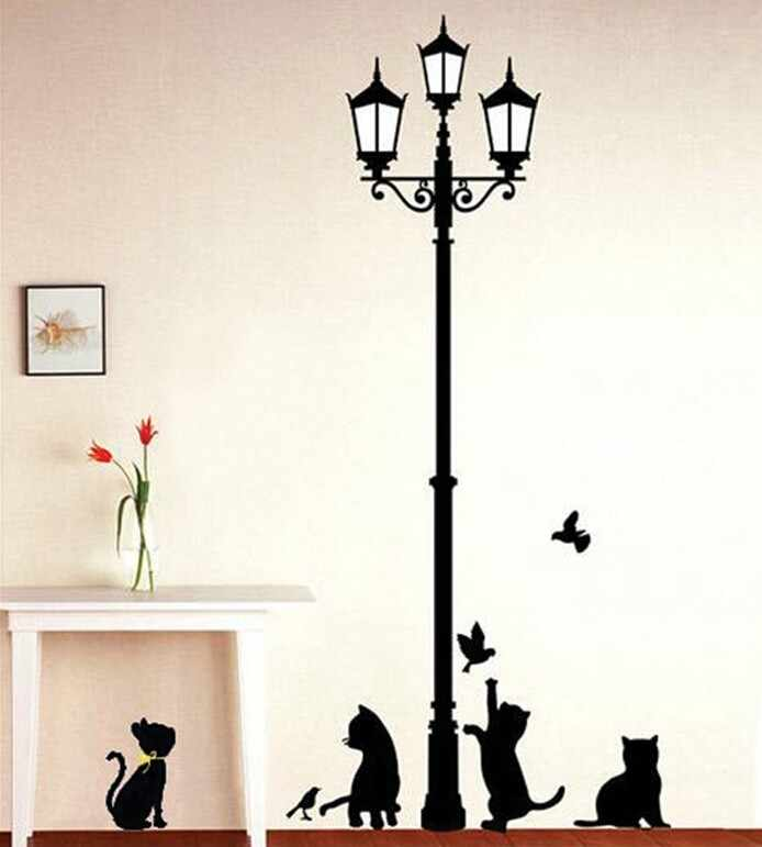 Free Shipping Popular Ancient Lamp Cats and Birds Wall Sticker Wall Mural Home Decor Room Kids Decals Wallpaper