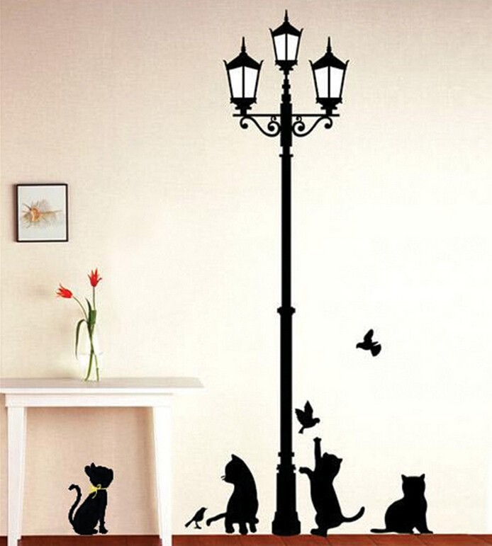 Penghantaran Percuma Popular Kucing Lampu Kuno dan Burung Wall Sticker Wall Mural Home Decor Room Kids Decals Wallpaper