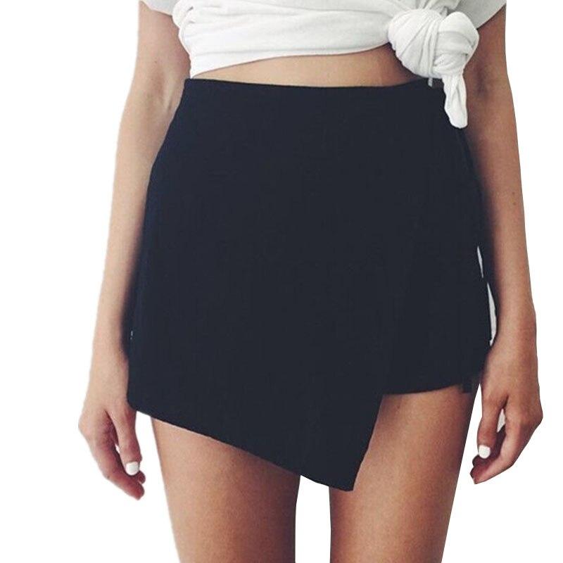 CUHAKCI Summer Shorts Women Black White Shorts Drawstring Plus Size XL Straight Style Irregular Linen Cotton Casual Shorts Thin