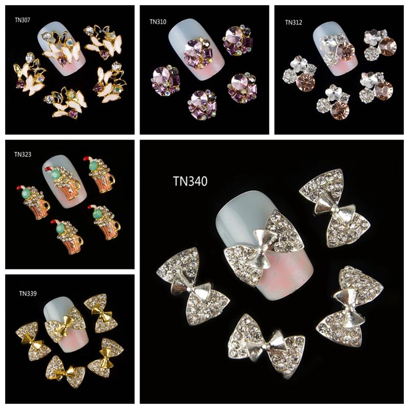 10Pcs/Pack(1pack=1style)3D Nail Decorations  Luxury Butterfly Bow Beverages Beer Cup DIY Glitter Rhinestones For Nails Art Tools e cap aluminum 16v 22 2200uf electrolytic capacitors pack for diy project white 9 x 10 pcs