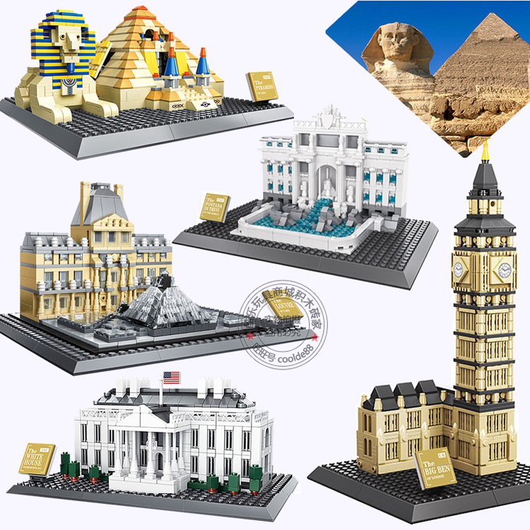 624pcs WANGE 7011 Egypt Pyramid Building Blocks Model Famous Architecture Construction Brick Toys In Kits From Hobbies On