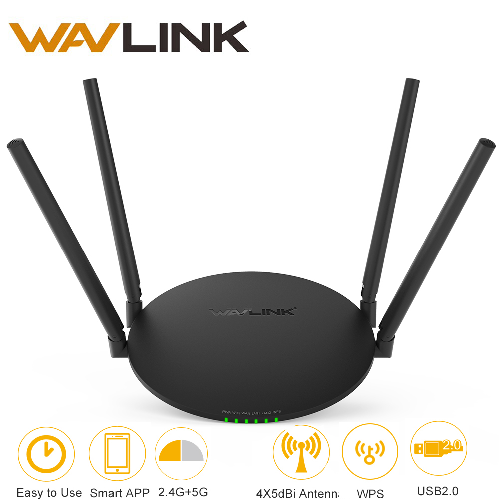Wavlink AC1200 Wireless WiFi Router 1200Mbps 4x5dBi Antennas Dual Band 2.4G 150Mbps+5GHz 867Mbps USB 2.0 port Wifi Repeater APP ключ santool 031638 019 022 19 22 мм