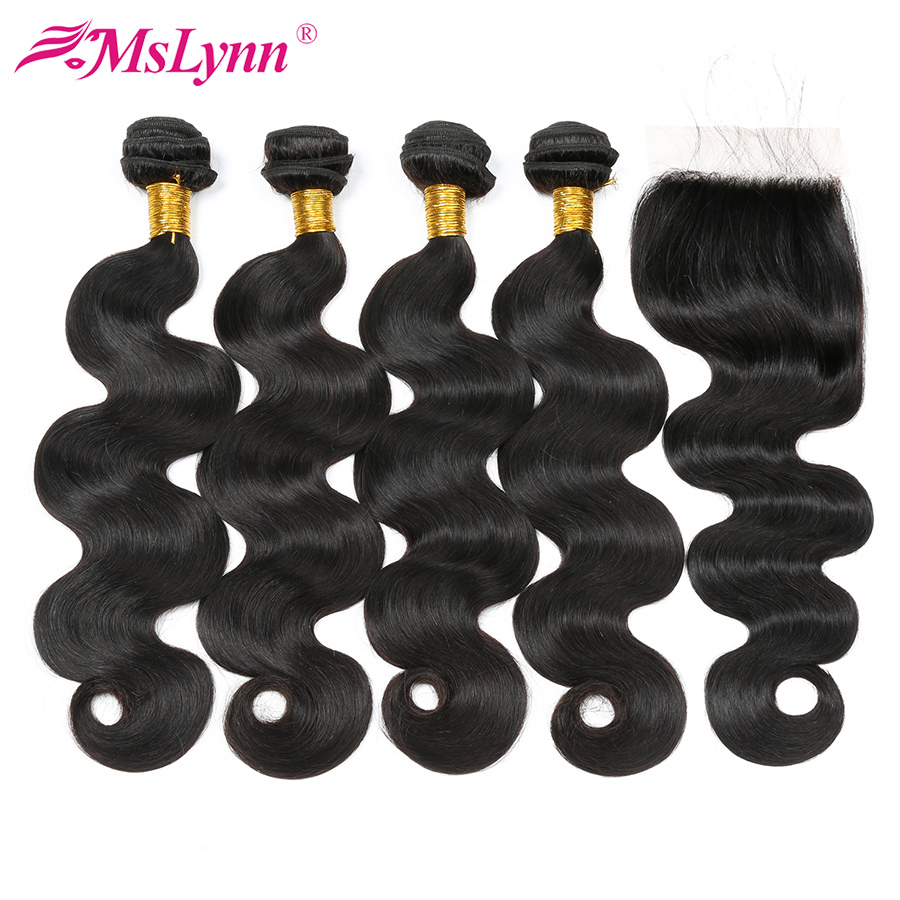 Mslynn Brazilian Body Wave 4 Bundles With Closure Human Hair Brazilian Hair Weave Bundles With Closure 4x4 Extensions Non Remy