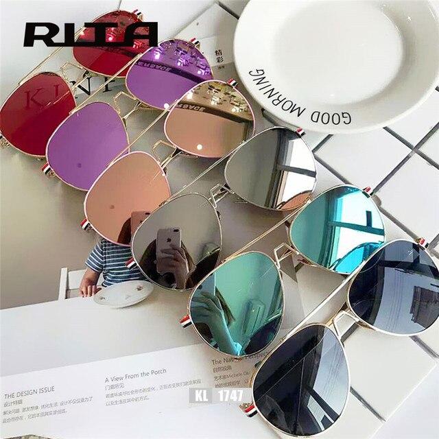 d3e4965871 2017 TB RITA Grandes oversize gafas de Sol estilo Piloto aviador Mujeres  espejo KL1747 thom browne
