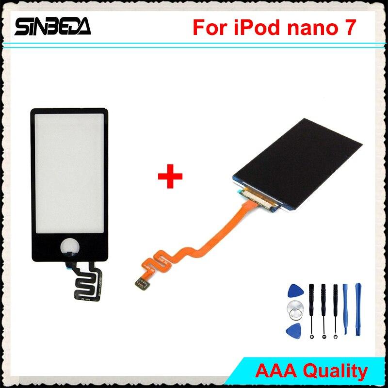 Sinbeda AAAA Qualité LCD Écran Pour iPod Nano 7 LCD Affichage + Écran tactile Digitizer Assemblée Remplacement Pour Nano 7 Noir Blanc