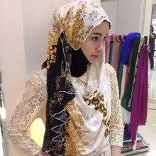 OLOMLB Muslim islamic scarf head hijab foulard femme modis lace printed long women shawl female hui nationality cove