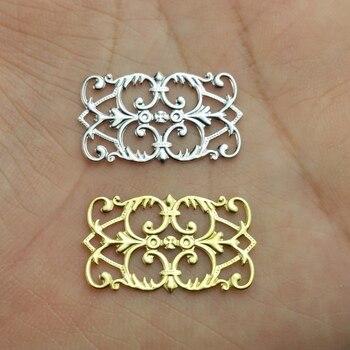10 unids/lote 15x25mm filigrana de cobre joyería de La Flor componentes para DIY resultados gorros y sombreros Accesorios