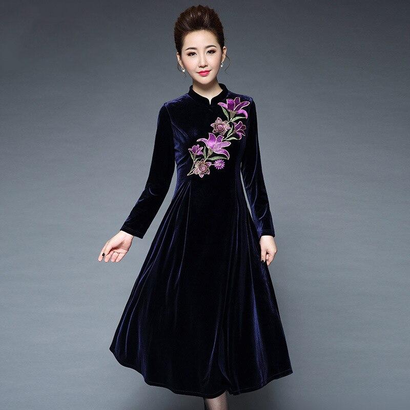 Winter big flower embroidery warm velvet dress women fashion vintage party dress femal Elegant ...