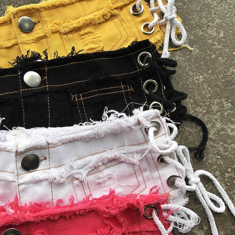 2018 ponadgabarytowych damskie szorty Sexy Jeans Denim bawełna Lace-up Sexy Super szorty damskie Skinny Super bandaż Rock Club krótkie dżinsy