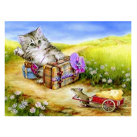 Cat And Mouse Diamond Painting Animals 5D DIY Tree Diamond Embroidery Needlework Full Mosaic Cross Stitch Home Decoration Gift