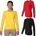 Pure Colour T Shirt Women Clothing Long Sleeve Tops Round Neck Plain Basic Ladies T-Shirt Tees