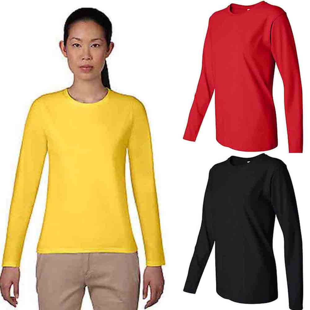 6ee40cbe02 Yellow Ladies Crew Neck Long Sleeve T Shirt | Top Mode Depot