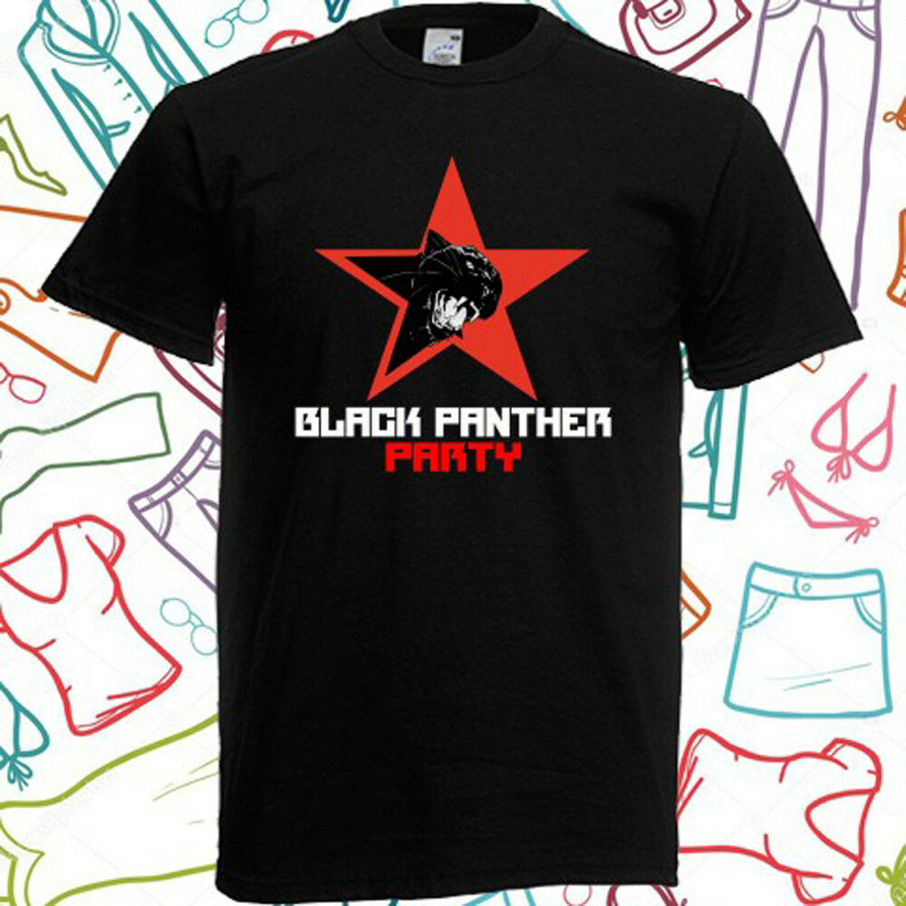 Black Panther Party Logo <font><b>Malcolm</b></font> <font><b>X</b></font> Men's Black <font><b>T</b></font> <font><b>Shirt</b></font> Size S to 3XL Men <font><b>T</b></font>-<font><b>Shirt</b></font> Lowest Price 100 % Cotton image