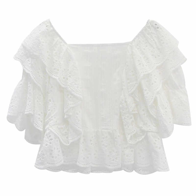 קיץ Boho סגנון נשים חולצה כיכר צווארון חלול החוצה פאף שרוול לפרוע חולצה נשי חדש 2019 אופנה מזדמן סרוגה תחרה למעלה