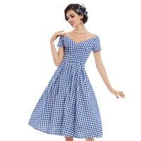 Sisjuly Women S Vintage Dress 2017 Summer V Neck Short Sleeve Blue Small Plaid A Line
