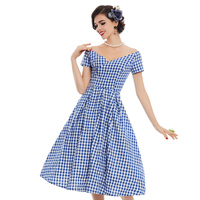 Sisjuly Women S Vintage Dress 2017 Summer V Neck Short Sleeve Blue Small Plaid A Line