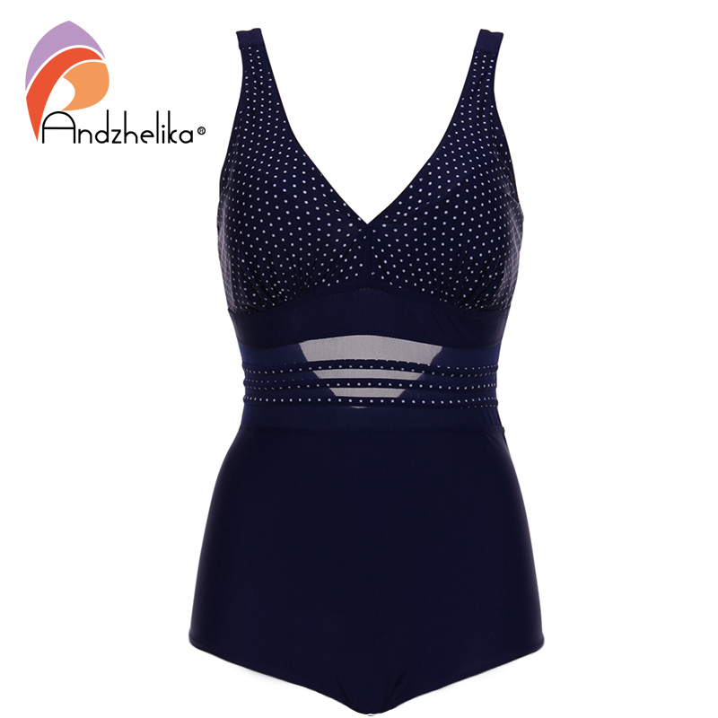 Andzhelika Plus Size Swinsult 2018 New Women Swimwear Dot Sports Mesh Swimwear Hollow Summer Beach Suit Halter Bathing Suit Swim