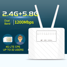 купить 1200Mbps 4G LTE CAT6 CPE Router Full frequency band 4G LTE Wireless CPE Router Dual Band 2.4&5.8G Wireless FDD/TDD LTE Sim Card недорого
