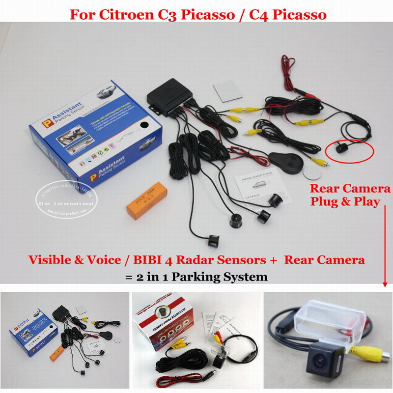 For Citroen C3 Picasso / C4 Picasso Car Parking Sensors + Rear View Camera = 2 in 1 Visual / BIBI Alarm Parking System for citroen berlingo saxo xsara car parking sensors rear view camera 2 in 1 visual bibi alarm parking system