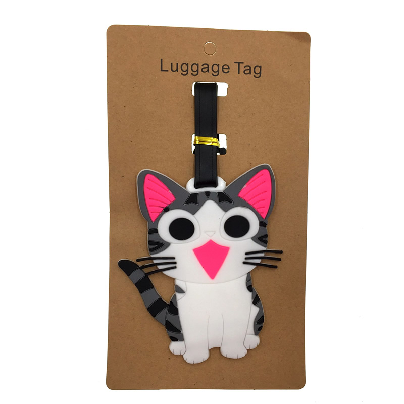 Cartoon Cheese Cat Luggage Tag Travel Accessories Silica Gel Suitcase ID Address Kawaii Holder Baggage Boarding Tag Portable