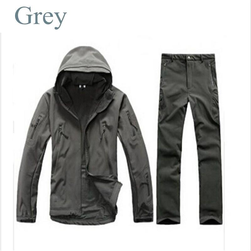 Tactical Gear Softshell Grey Military Jacket Men Army Waterproof Warm TAD Outdoor Fishing Hunting Hiking Waterproof Pants Jacket