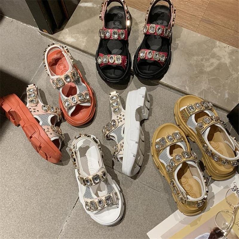 Chunky Platform Wedge Women Sandals Summer Beach Open Toe Woman Sandalias String Bead Mujer Casual Footwear