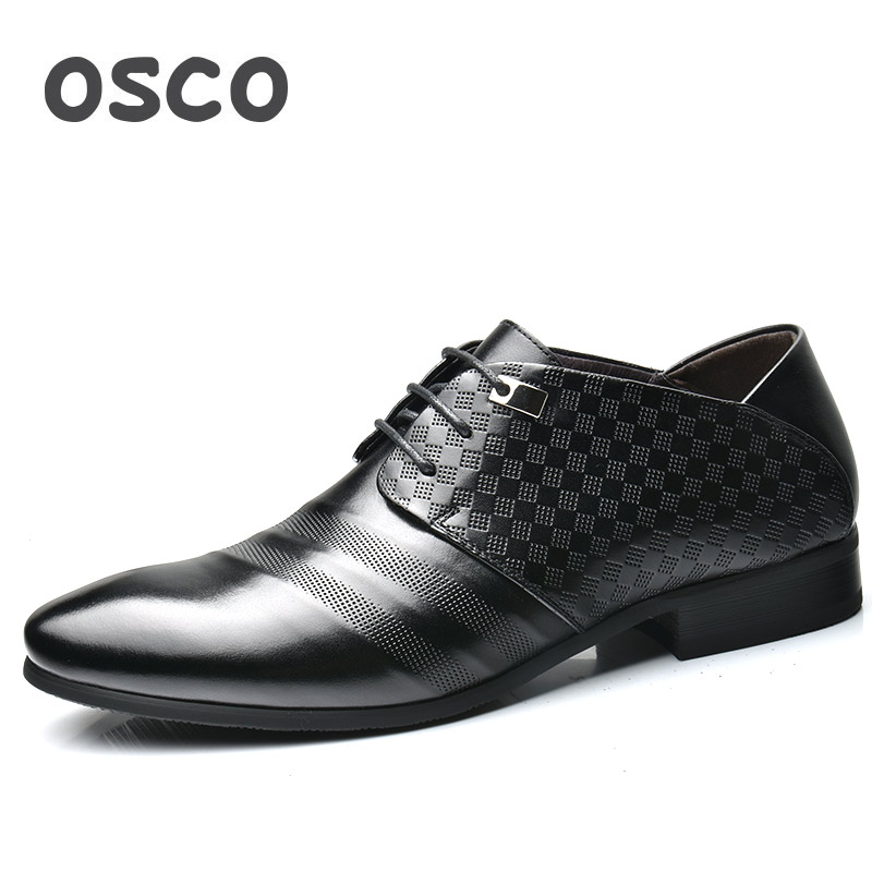 OSCO Genuine Leather Men Shoes Business Casual Dress Pointed Toe Shoes Men British Trend Lace-Up Breathable Wedding Shoes M esudiamon casual shoes men british flats black men genuine leather business lace up soft dress men oxfords shoes 45 big size
