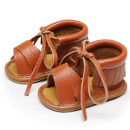 Fashion Genuine Leather Hollow Lace up baby sandals fringe summer New style Hard sole kids shoes baby sandals for girls and boys