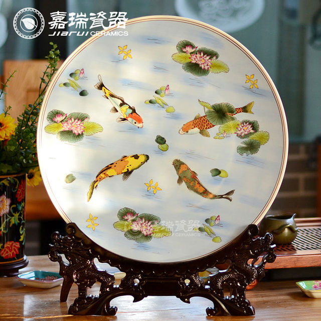 Chinese Antique Round Porcelain Decorative Plates Decorative Ceramic Wall Plate With Fish Design & Chinese Antique Round Porcelain Decorative Plates Decorative Ceramic ...