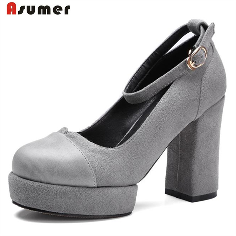 ФОТО ASUMER Large size 32-42 high heels shoes buckle round toe shallow single shoes big size 32-42 cow suede women shoes pumps