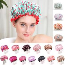 1pc Lovely Thick Women Shower Caps Colorful Double Layer Bath Shower Ha