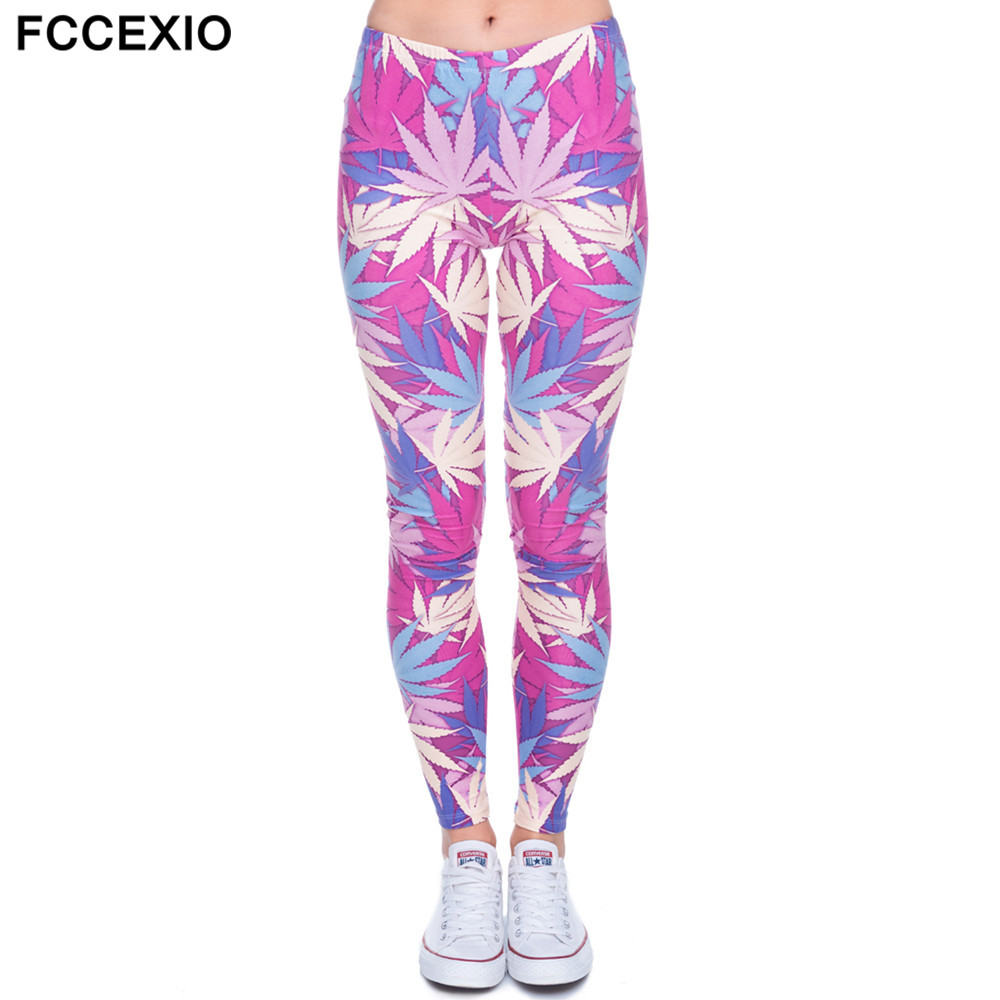 FCCEXIO Brands Winter New Fashion Women Leggings Pink Weed 3D Printed Leggins Fitness Legging Sexy Slim High Waist Woman Pants