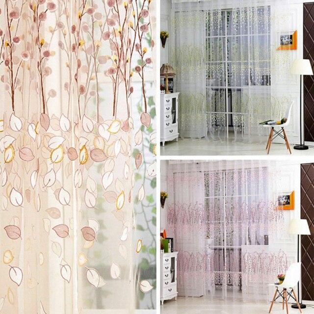 Floral Print Tulle Voile Curtains Transparent Window ...