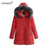 Lanbaiyijia Winter Female Long Jacket 2018 Winter Coat Women Fake Fur Collar Warm Woman Parka Outerwear Jacket Winter Jacke S XL