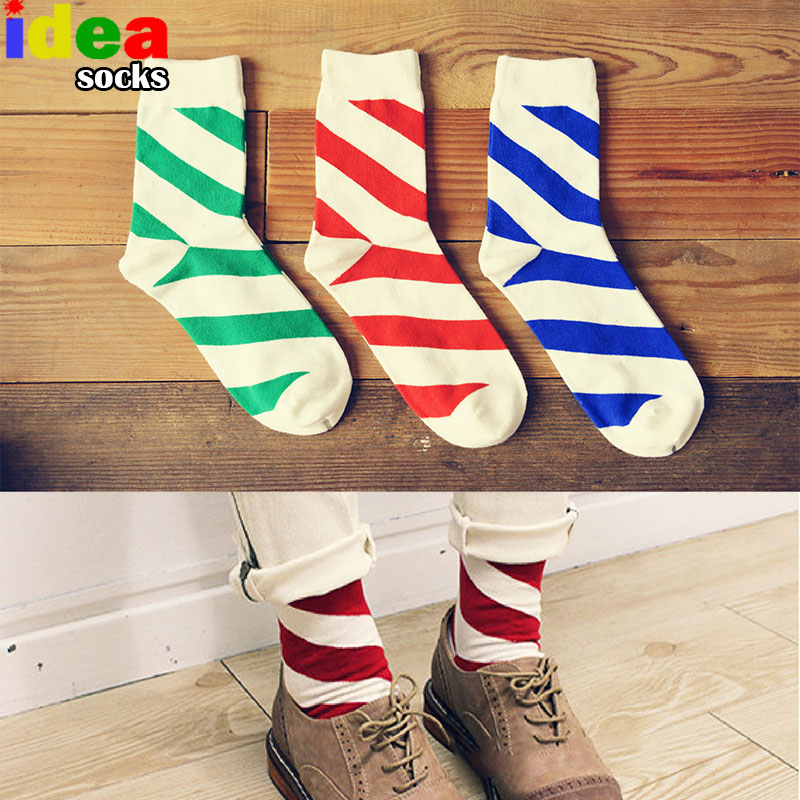2017 New Summer Winter Colorful Striped Candy Color Men Casual Business Dress Mens Cotton Socks Male Chaussette White Socks