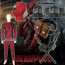 Movie Deadpool 2 Once Upon A Deadpool Costume Wade Winston Wilson Cosplay Carnival Halloween Leather Accessories Jumpsuit Only цена