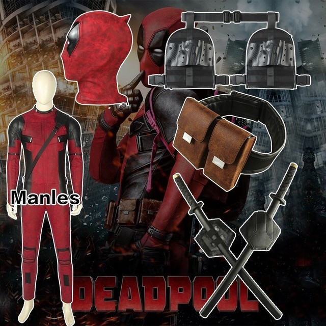 Movie Deadpool 2 Once Upon A Deadpool Costume Wade Winston Wilson Cosplay Carnival Halloween Leather Accessories Jumpsuit Only