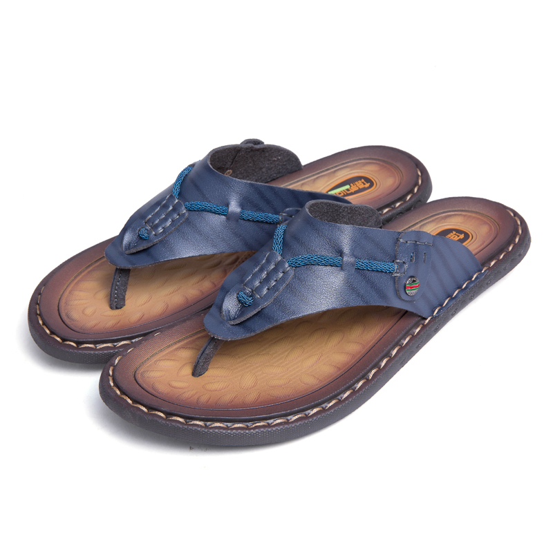 Breather Slippers Mens Casual Shoes Genuine Leather Sandals Men Flip Flops Brown 13.5 M US