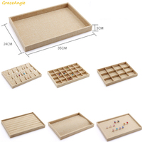 GraceAngie 1PC Necklace Earring Ring Jade Plate Jewelry Display Pendientes Storage Organizers Rectangle Box Case Multi