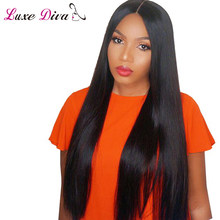 LUXE DIVA 100% Brazilian Straight Lace Frontal Human Hair Wig For Woman 130% Density With Baby Hairline Nonremy Free Shipping(China)