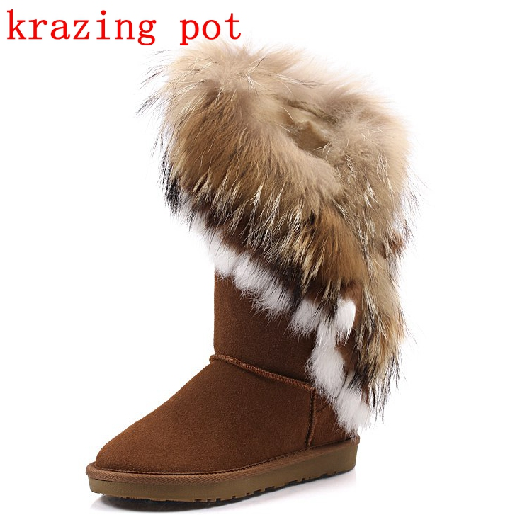 Krazing Pot cow suede fox fur rabbit fur luxury winter boots large size flat with keep warm snow boots women Mid-Calf boots L78