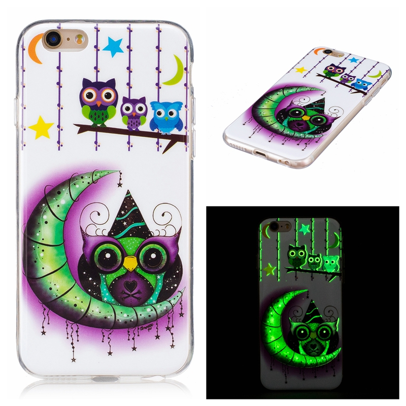Half-wrapped Case Mutouniao Moon Owl Luminous Tpu Soft Silicon Case Cover For Iphone 5 5s Se 5c 6 7 8 10 X Plus