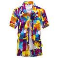 Nova marca camisas Homens Da Camisa Hawaii camisa de Praia praia lazer moda camisa floral litoral tropical havaiano camisa Asiático Tamanho 5XL