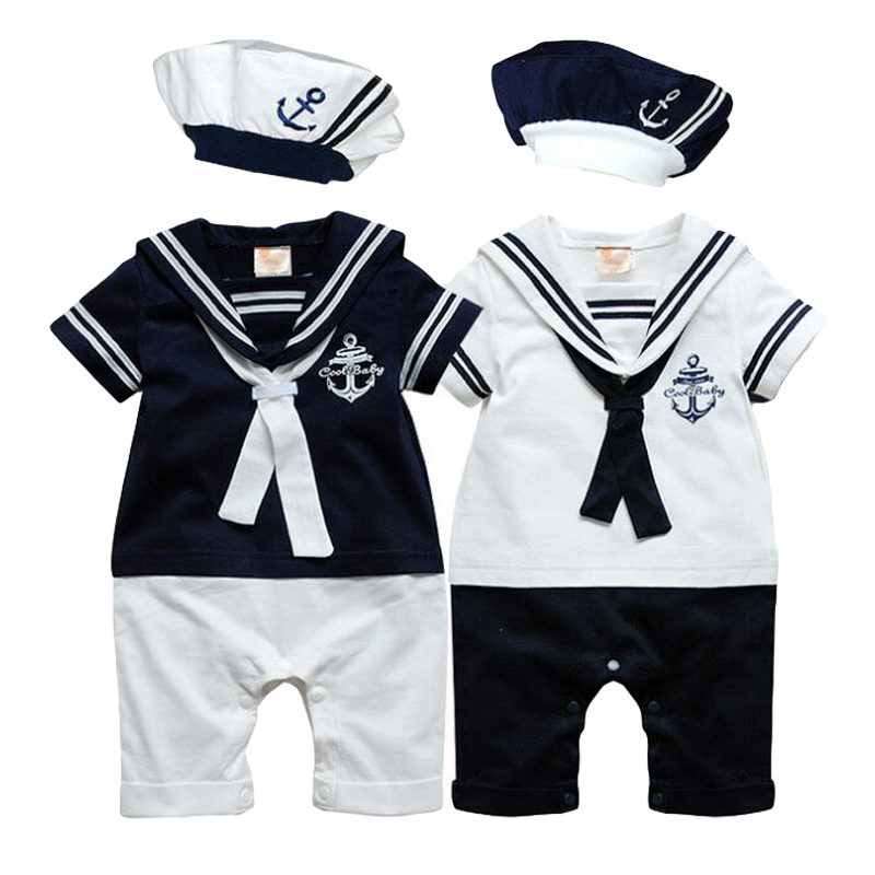 NEWBABY Just Arrived Nautical Anchor Unisex Baby Short Sleeves Climbing Clothes For 0-24m Baby