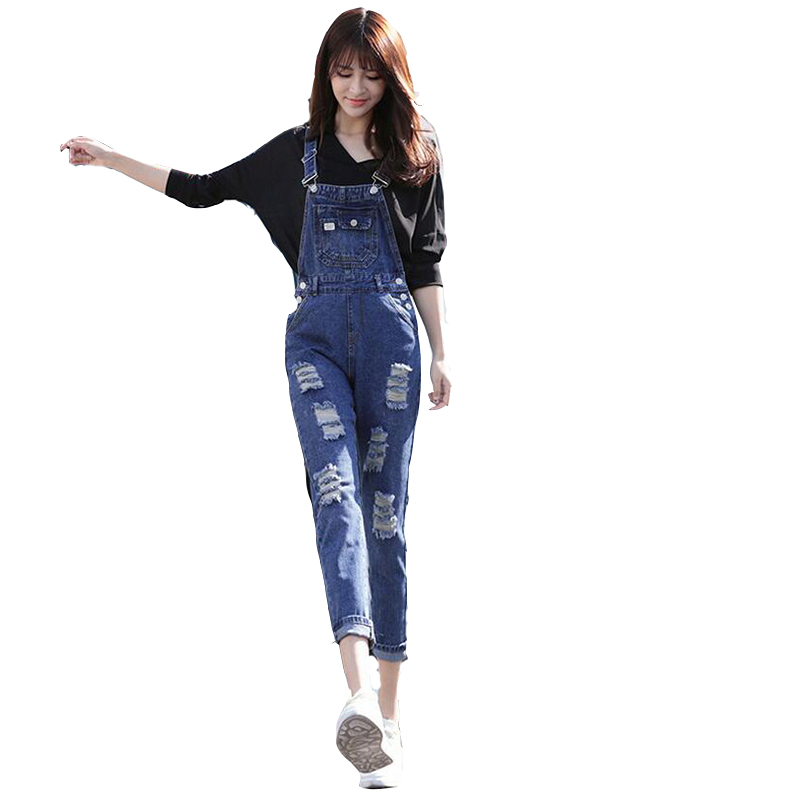 HMCHIME cotton denim women overalls ripped hole ankle length pants high quality fashion high waist scratched loose jeans D252-1 new summer vintage women ripped hole jeans high waist floral embroidery loose fashion ankle length women denim jeans harem pants